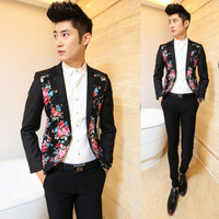 Free shipping! New autumn and winter men's fashion Slim models suit Trendy Floral Rose