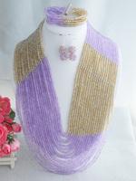 Fashion Nigerian Wedding African Beads Jewelry set Purple Crystal Necklace Bracelet Earrings Jewelry Set Z-1985