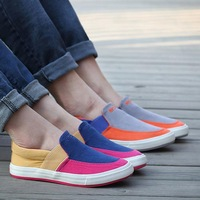 2014 Korean Fashion Slip-on Unisex Flats Casual Sneakers EU 35-39 / 39-43 Patchwork Design Men Women Canvas Shoes