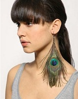 Earring Hot Selling New Style Assorted Color Peacock Natural Feather Earrings Wholesale Earrings