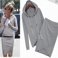 2014 autumn-summer women casual dress suit baseball sweatshirt tracksuits pullovers hoodies sportswear clothing set