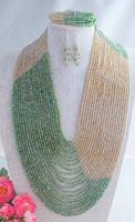 Fashion Nigerian Wedding African Beads Jewelry set Green  Crystal Necklace Bracelet Earrings Jewelry Set Z-1984
