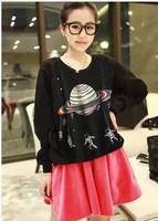 New 2014 Winter Korean 3D Galaxy Print  Sweatshirts Hoddies Full Sleeve Pullover Tee Tops girl t shirt women Free Shipping 315