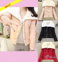 Glint Glossy Graceful Bright Hot 3 Colors 2013 Tops Women's Fashion Big Lapel Autumn Winter Warmer Lamb Wool Jacket Outwear Coat