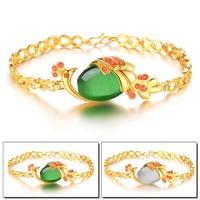 Luxury 18K Gold Plated Green/Silver Agate Stone + AAA Cubic Zirconia Inlaid Phoenix Women Wedding Jewelry Bracelet Bangle 423