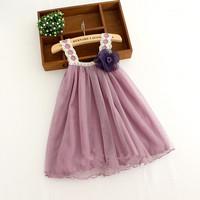 New 2014 Summer Korean girl purple vest dress Children girls fashion party lace dress 6pcs/lot  2 colors