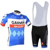 2014 GARMIN TEAM Short sleeve Cycling Jersey for cycling wear cycling clothing Bib shorts men Summer Breathable quick dry