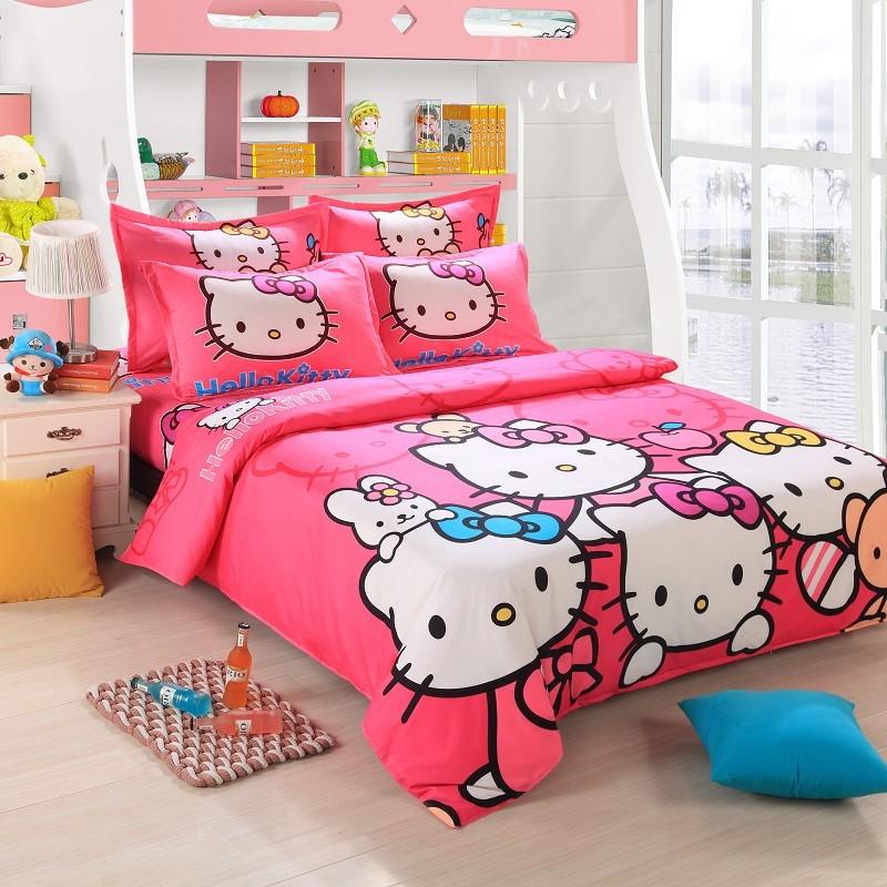 free ship! 4PCs pink hello kitty cartoon kids grils comforter bedding sets, adult queen size linen sheet duvet cover pillow P05(China (Mainland))