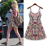 Women Summer Casual Mini Cute Beach Dress Strap Dresses Backless Dress  femail Dress Free Shipping Plus Size HHY8326LBR