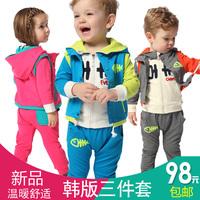 Suprenergic doll baby autumn 2 - 3 girl zipper sweater 2014 male child cartoon sports set 1480