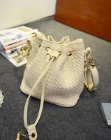 2014 Hot Weaving Bucket Bag Handbag Female Casual Weaving Shoulder Bag Cross- body Bags Women Messenger Bag Day Clutches