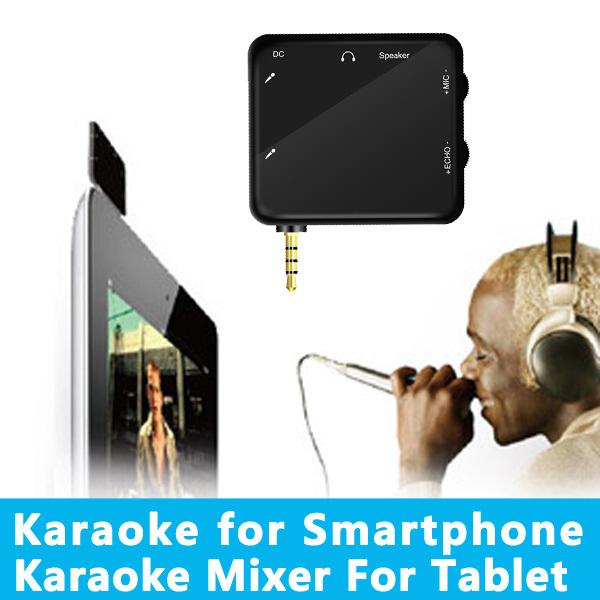 Os mais recentes branco portátil Karaoke Som Karaoke Eco Mixer para Smart Phone / Tablet PC / Smart TV Grátis 2 microfone(China (Mainland))