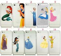 Princess Snow White Frozen Elsa Little Mermaid Ariel Clear Transparent Plastic Case for iPhone 4 4S 5 5S 5C