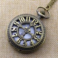 Fashion Number Hollow Quartz Pocket Watch Necklace Pendant Women Men P203
