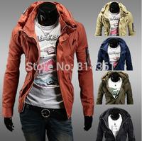 Hot Sale 2014 New Men's Fashion Winter Coat Double Collar Zipper Decoration Windproof Warm Men Casual-Jacket Free Shipping