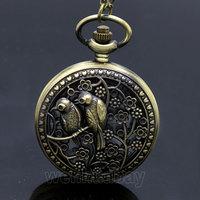 Bronze Lovely Bird Hollow Quartz Pocket Watch Necklace Pendant P202