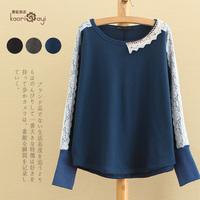 Mori girl exquisite lace long-sleeve o-neck laciness elastic basic sweatshirt moleton camisa camisetas mulher roupas femininas
