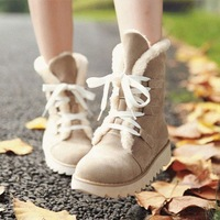 US3-US13 Winter Casual Shoes Zapatos New Fashion Lace-Up Solid Flats Heels 5Colors Big Size33-44 Comfortable Snow Boots