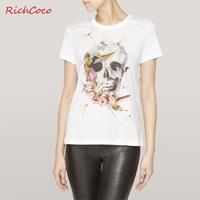 Richcoco fashion street fashion skull dragonfly print o-neck short-sleeve cotton t-shirt d131