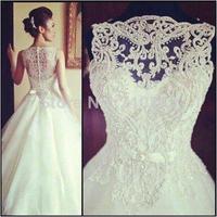 High Qualtiy Wedding Dress Ball Gown High Neck Sleeveless Chapel Train Wedding Dresses with Beaded Bow Sash Elegant Bridal Gown
