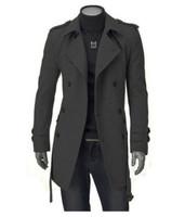2014 woolen long casual windbreaker jacket Korean men's double-breasted belted long sleeve coat, plus size free shipping