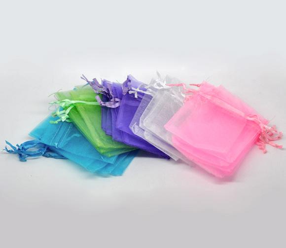 100 Mixed Organza Wedding Gift Bags&Pouches 9x7cm 5 Colors Each 20 Pcs(China (Mainland))