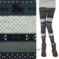 FREE SIZE (FIT XS-L) Thin Multi Coloured Snow/Heart Patterned Autumn & Winter Knitted Leggings Pants For Womans W016-B-Z
