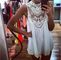 2014 New Arrive Sleeveless Lace Flower Mini Dress, Women Sexy Hollow Out Short Dress, Free Shipping