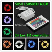 150LEDs Super bright SMD 5050 30LED/M Flexible RGB LED Strip Light + 24 key IR controller Factory Wholesale 500m/lot