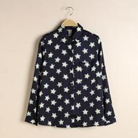 2014 autumn New fashion womens Mixing fashion cute star pattern collar shirt  free shipping