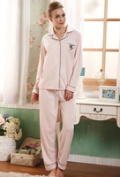 New Autumn Winter 100% Cotton Long Sleeve European Style  Women Casual Sleepwear Pijama Night Suits  Free Shipping