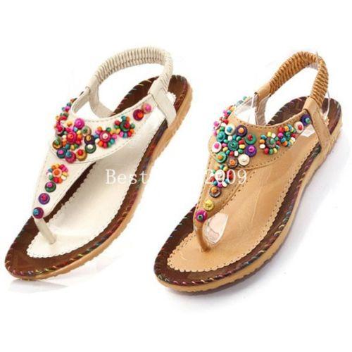 xnew 4 mulheres flops post dedo apartamentos tanga sandálias flip flop verão sapatos baixos boho bege bronzeado asiantag tamanho 38 39 40(China (Mainland))