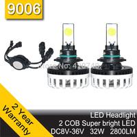 Free Shipping 2014 NEW 60W ETI Chip LED Headlight Conversion Kit 9006 7200LM 12V 24V Aluminum Alloy IP68 6500K High Quality