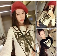 New 2014 Winter Fashion Wolf Print Sweatshirts Hoddies Full Sleeve Pullover Loose Tee Tops girl t shirt women Free Shipping 2578