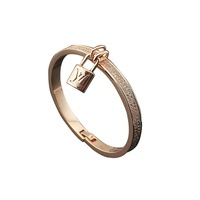 Free shipping the new 2014 titanium steel rose gold plated with small drill lock bracelet
