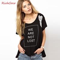 Normic wings richcoco fashion letter print loose big o-neck short-sleeve T-shirt d248 basic shirt