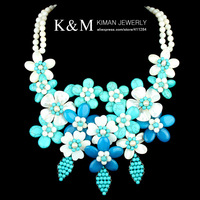 New Arrival Wholesale Fashion Lady Shell Flower Turquoise bead Statement Jewelry Necklace Gift Free Shipping