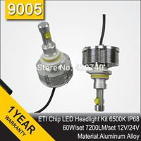Free Shipping 2014 NEW 60W ETI Chip LED Headlight Conversion Kit 9005 7200LM 12V 24V Aluminum Alloy IP68 6500K High Quality