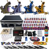 Complete Tattoo Kit 2 Pro Machine Guns 54 Inks Power Supply Needle Grips TK453