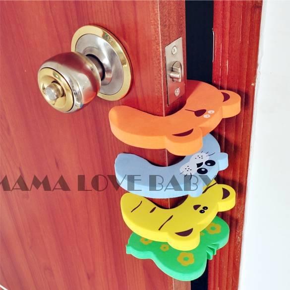 Free Shipping 4 Pcs Infant Baby Cartoon Safe Animal Colorful Door Stop Finger Pinch Guard 716(China (Mainland))