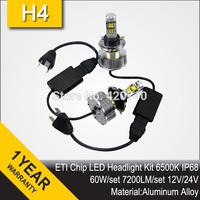 Free Shipping 2014 60W ETI Chip LED Headlight Conversion Kit H4 Bixenon 7200LM 12V 24V Aluminum Alloy IP68 6500K High Quality