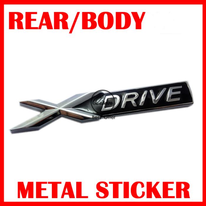 3D BLACK Metal chrome Xdrive X drive emblem badge sticker Decal For 3 4 5 6 7 Series X1 X3 X5 E70 X6 E71 Decoration #PL192(China (Mainland))