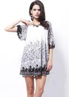 Sale Promotion!!! New 2014 European Plus Size Women Dress Autumn Elegant Black & White Lace Dress Sexy Lace Floral Chiffon Dress
