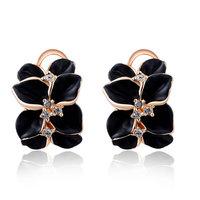 Original ROXI Jewelry Luxury Rose Plated Black Rose Clip Earrings Austrian Crystals Earrings for Women Wedding