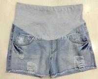 Maternity Clothes Pregnant Women's Plus Size Hole Design Denim Shorts B52