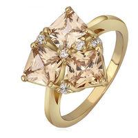 [18K] Crystal Orange Geometric Gold Plating Women Ring , Good Quality Nickel And Lead Free Gold Plating Fashion Ring