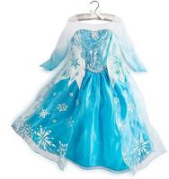 New Frozen Elsa Snowflake Dress Frozen Party Dresses Girl Frozen Dress Vestidos De Menina Size100-140 5pcs/Lot Free Shipping