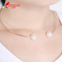 2014 fashion hot luxury double small faux pearl designer dress false collar choker pendant & necklace for women bijoux wholesale