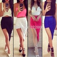Irregular low-waist skirts in cotton fake two Sexy Skirt womens 4325