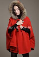 2014 fall fashion for women british style cape style coat woolen overcoat fur hooded cape cloak cardigans casual manteau femme
